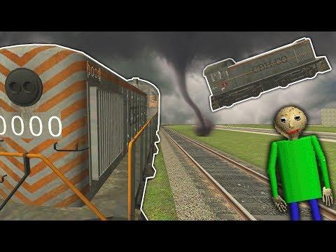 Garrys Mod - TRAIN RACE ENDS IN TORNADO DISASTER! - Garry's Mod Gameplay - Gmod Baldi's Basics & Fnaf Survival