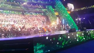 Africa (Toto) conducted by Marvin Kernelle, Chorus Master at Cape Town Opera, during closing ceremony of 3rd European Choir Games / Grand Prix of Nations in Riga, Latvia 2017 where South Africa bagged 5 awards. © Alta Mare, Program Director, World Choir Games 2018
