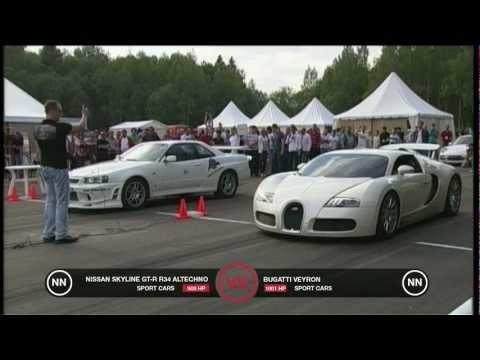 bugatti veyron vs nissan skyline gt-r34