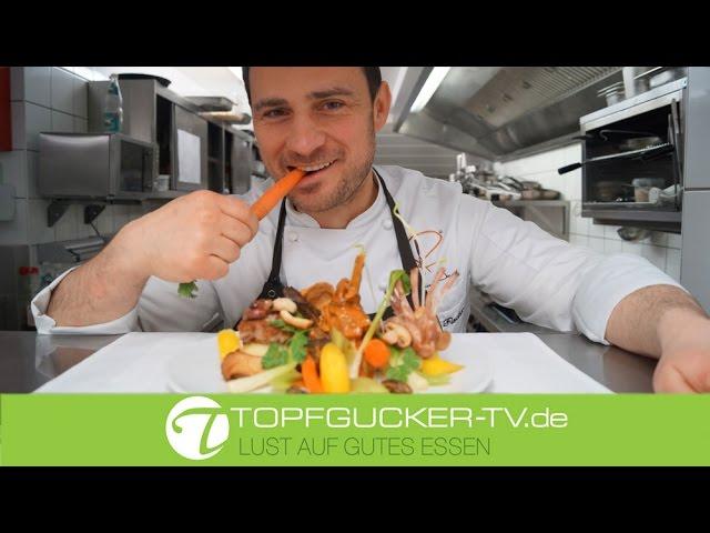 1/4 Kaninchen und Gemüse mit Pilzen und Kartoffelstampf