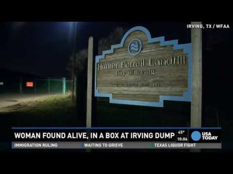 Half-naked woman found alive inside box at landfill