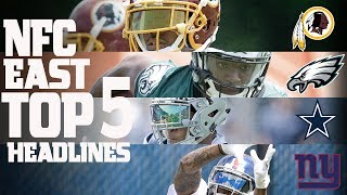 The NFC East Division's top 5 headlines from the offseason heading into this 2017 season. Subscribe to NFL: http://j.mp/1L0bVBuStart your free trial of NFL Game Pass: https://www.nfl.com/gamepass?campaign=sp-nf-gd-ot-yt-3000342Sign up for Fantasy Football! http://www.nfl.com/fantasyfootballThe NFL YouTube channel is your home for immediate in-game highlights from your favorite teams and players, full NFL games, behind the scenes access and more!Check out our other channels:NFL Network http://www.youtube.com/nflnetworkNFL Films http://www.youtube.com/nflfilmsFor all things NFL, visit the league's official website at http://www.nfl.com/Watch NFL Now: https://www.nfl.com/nowListen to NFL podcasts: http://www.nfl.com/podcastsWatch the NFL network: http://nflnonline.nfl.com/Download the NFL mobile app: https://www.nfl.com/apps2016 NFL Schedule: http://www.nfl.com/schedulesBuy tickets to watch your favorite team:  http://www.nfl.com/ticketsShop NFL: http://www.nflshop.com/source/bm-nflcom-Header-Shop-TabLike us on Facebook: https://www.facebook.com/NFLFollow us on Twitter: https://twitter.com/NFLFollow us on Instagram: https://instagram.com/nfl/