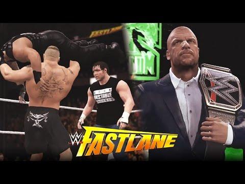 WWE 2K16 Fast Lane 2016 : Roman Reigns vs Lesnar vs Ambrose & Triple H Confrontation