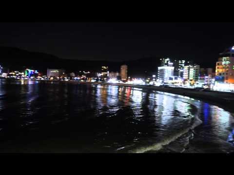 Пусан, пляж Сончжон вечером (부산송정해수역장, 2016)
