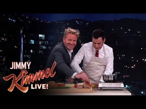 Ramsay and Kimmel, trying to make scrambled eggs.