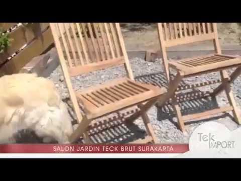 Salon jardin teck brut SURAKARTA 8 - 1 table ovale 180x100cm 4 chaises 2 fauteuils - Tek Import
