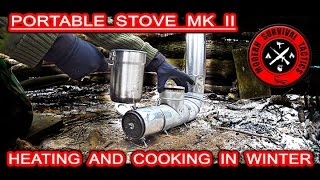 """We are presenting the 2nd generation of the heating + cooking device called """"Portable Stove MK II"""". We also tested the Tactical Food Ration TAC-BAR.The P.S. MK II has many options for any winter or summer trip. It can be used as a heating element or as a cooking station. There are 3 predefined cooking options, but certainly there are no limits. The stove's main cooking hole is designed for the Stanley cooking pot.The stove is smaller, possibly lighter, much more versatile and compact than the previous model. Our challenge was to made a portable heating device what can also help with cooking/boiling.Some technical data:• Approximate dimensions of all parts connected together to create one pipe: 24x4""""• Weight: around 3lb• Materials used: galvanized metal + aluminum ducting************************************!!! MUST READ THIS VERY IMPORTANT INFORMATION BELOW !!!• The stove is partially made from the galvanized metal.• Burning of a galvanized metal can cause health issues.• Do your research before any attempt to duplicate - https://en.wikipedia.org/wiki/Metal_fume_fever• This equipment was tested many times before filming.• This is only a physical representation of our idea.• WE ARE NOT TAKING ANY RESPONSIBILITY FOR YOUR ACTIONS !************************************Useful links:• Tactical Food Ration TAC-BARhttp://www.tac-bar.com/http://www.tac-bar.com/prepper/http://www.tac-bar.com/faq/https://twitter.com/tacticalfoods/• Stanley Cook Sethttp://www.amazon.com/Stanley-Adventure-Camp-Stainless-Steel/dp/B005188T90/ref=sr_1_1?ie=UTF8&qid=1456550650&sr=8-1&keywords=stanley%27s+cooking+pot• Self-Inflating Mummy Sleeping Padhttp://www.walmart.com/ip/Ozark-Trail-Self-Inflating-Mummy-Sleeping-Pad-Mossy-Green/33563202------------------------------------------------------------------------------------------------------FOR MUCH MORE ABOUT M.S.T. VISIT:http://www.modernsurvivaltactics.comhttp://www.store.modernsurvivaltactics.comhttps://www.google.com/+MODERNSURVIVALTACTICS"""