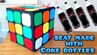 DIY Crafts: Rubik Cube seat with plastics Coke bottles, Coca Cola - handmade - Youtube - Isa ❤️ - YouTube