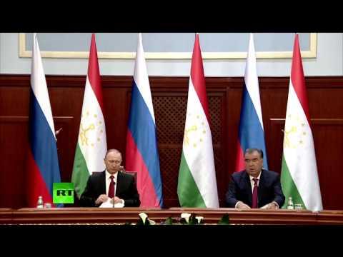 Пресс-конференция Владимира Путина и Эмомали Рахмона