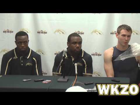 Broncos Donald Celiscar, Brian Fields and Tyler VanTubbergen press conference after Nicholls loss