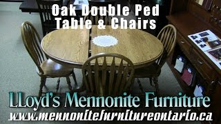 Mennonite Solid Oak Double Pedestal Dining Room Table & Chairs