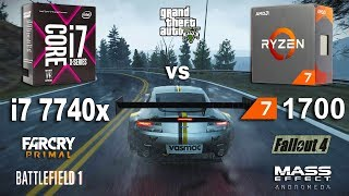 i7 7740x vs Ryzen 7 1700 Test in 6 Games (GTX 1070)Games:Battlefield 1Fallout 4 - 01:47Mass Effect Andromeda - 03:51Grand Theft Auto V - 05:30Project Cars - 07:39Far Cry Primal - 09:18System: Windows 10AMD Ryzen 7 1700 3.0GhzGigabyte GA-AB350-Gaming 3RAM 3200MhzIntel i7 7740x 4.3GhzASUS PRIME X299-ARAM 3200MhzGTX 1070 8Gb16Gb RAM