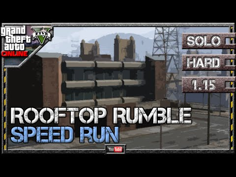 GTA 5 Online - Rooftop Rumble 1.15 - Speed Run [3:24] - SOLO HARD GTA V Martin Mission (видео)