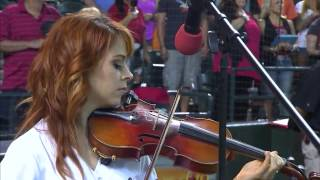 Lindsey Stirling performing the National Anthem of the United States