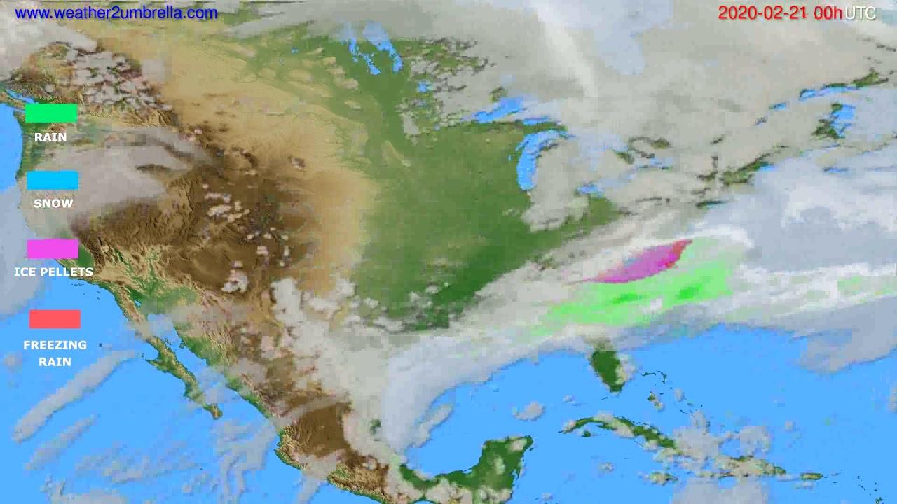 Precipitation forecast USA & Canada // modelrun: 00h UTC 2020-02-20