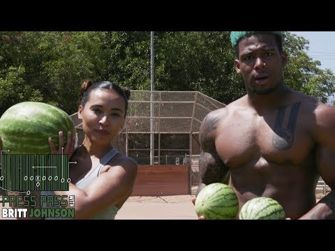 OBJ's Cousin Terron Beckham Does The WATERMELON CHALLENGE With Britt Johnson! | Press Pass