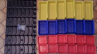 I bought this organizer back in 2015 from Northern Tool.  It comes with 24 plastic bins and a wall mounted rack. I used it for a year before finishing the video.There are 12 small red bins, 6 blue medium bins, 6 yellow large bins.Disclaimer: All products used in this video were purchased by me and all video content is my own and has been edited by me, Matthew Fox.Notes: Filmed using a Samsung WB250F and sound recorded with a Snowball Ice mic. My first product review!