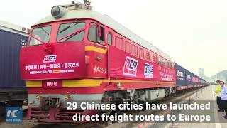 A freight train left south China's Shenzhen for Minsk on Monday. 29 Chinese cities have launched direct freight routes to Europe...