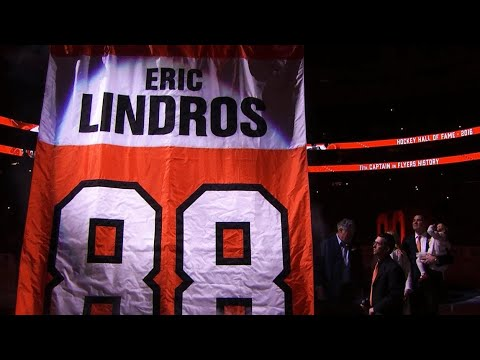 Video: Flyers honour Eric Lindros by retiring his number 88