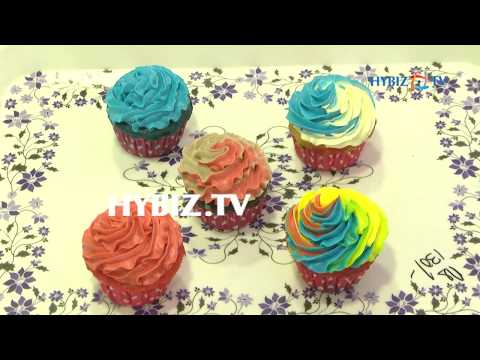 , Cupcakes with Filling Rich Cream and Toppings