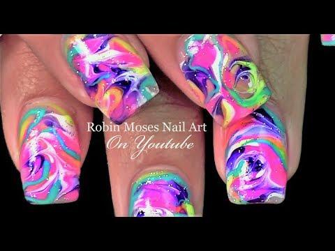 Nail designs - No Water Marble Nails  Rainbow Drag Nail Art Design Tutorial