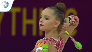 UEG Official – 33rd European Rhythmic Gymnastics Championships, Budapest (HUN), May 19-21, 2017. Clubs Final : Dina Averina (RUS), 19.000 (Difficulty : 9.700, Execution : 9.300). Rank : 2.Follow the European Union of Gymnastics on its channels to stay up to date with their latest news!