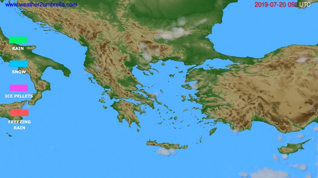 Precipitation forecast Greece // modelrun: 12h UTC 2019-07-18