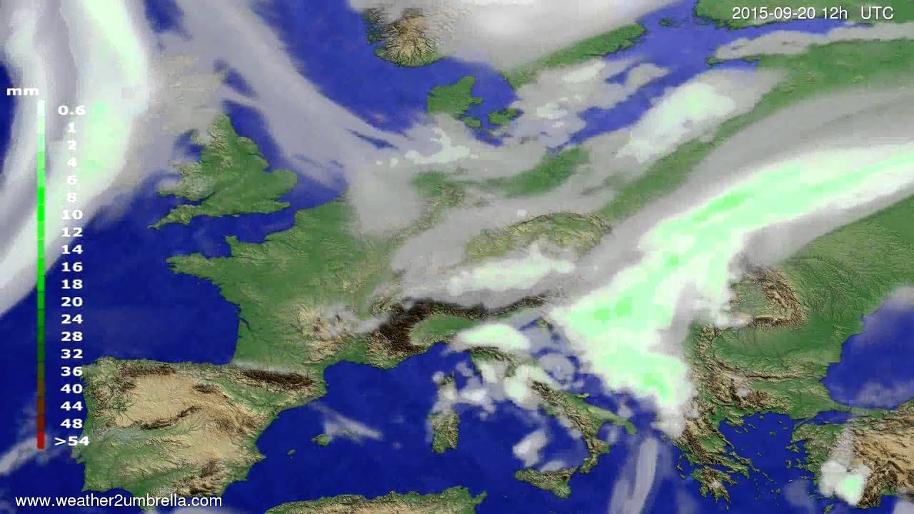 Precipitation forecast Europe 2015-09-18