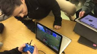 Kid Plays Fortnite At School!
