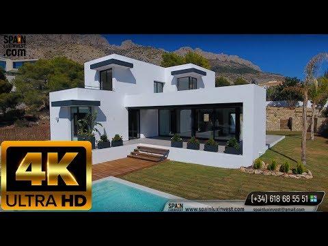 Новый дом Хай тек в Испании. Дом с видом на море в Алтее. Виллы и дома в Испании