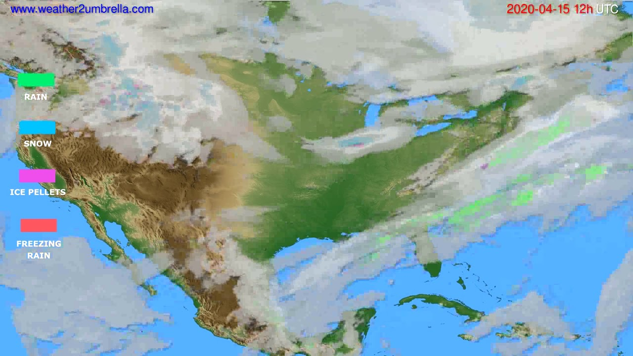 Precipitation forecast USA & Canada // modelrun: 00h UTC 2020-04-15