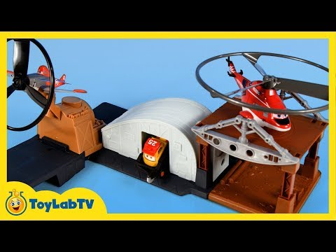 Planes - Toys from Disney Planes Fire and Rescue, the Planes 2 movie, the new Riplash Flyers Rip 'N Rescue Headquarters Playset launcher with Riplash Blackout by Matt...