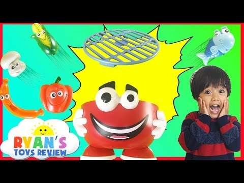 Family Fun Barbecue Party Kids Game Kinder Egg Surprise Toys Ryan ToysReview