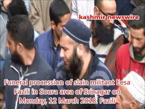 Funeral procession of slain militant Eesa Fazili in Srinagar on Monday