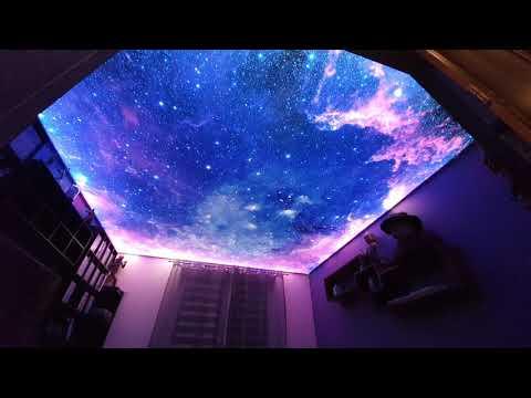 Aranżacja sypialni - sufit napinany LED