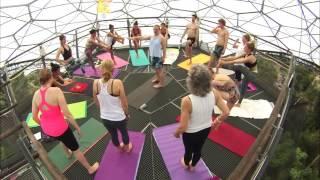 Hot Yoga over Eden Rain forest Cornwall