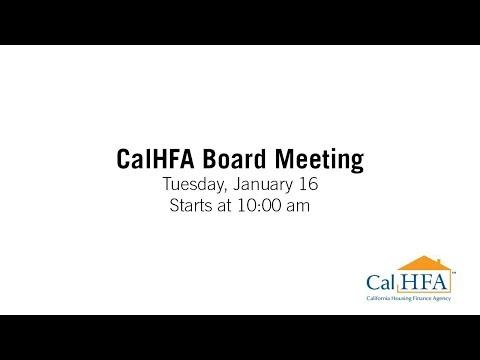 CalHFA Board Meeting - 01/16/2018