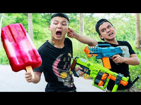 Battle Nerf War: Bakery Owner & Blue Police Skills Nerf Guns Robbers Group ORANGES ICE CREAM BATTLE
