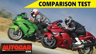 1. Suzuki Hayabusa Vs Kawasaki Ninja ZX-14R   Comparison Test