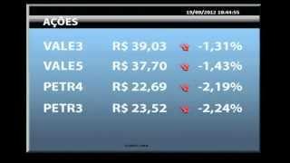 19-9-2012 - La Presse - Bolsa brasileira acompanha cautela externa e Ibovespa é pressionado por desvalorização nas ações da Vale e Petrobras.