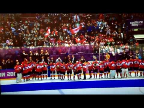 Canada Hockey Gold Medalist 2014, Canadian national anthem.