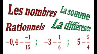 Maths 3ème - Les nombres rationnels Addition et Soustraction Exercice 16
