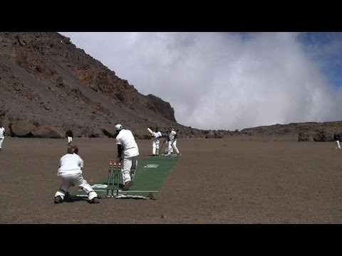 set - A group of international cricketers set a new record for the highest-ever match with a lung busting effort at the top of Kilimanjaro. Duration: 02:08.