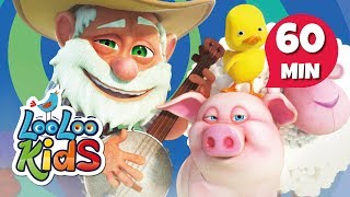 """Subscribe to our channel because new videos are uploaded every week! http://bit.ly/Subscribe_to_LooLooKidsYou are watching """"Old MacDonald Had a Farm"""", a super fun compilation with the best animated nursery rhymes created by LooLoo Kids and Hello Mr. Freckles!Follow us on Facebook for new updates! https://www.facebook.com/LooLooKids/Tweet to us! https://twitter.com/loolookidsWe are always happy to hear from you! Please share your feedback on our nursery rhymes in the comments or through our social media!Go to your favorite song by selecting a title below!0:00 Old MacDonald Had a Farm (Hello Mr. Freckles!) 1:17 Five Little Ducks (Hello Mr. Freckles!) 3:39 Head, Shoulders, Knees and Toes (Hello Mr. Freckles!) 5:41 Pat-a-Cake 6:38 If You're Happy and You Know It 8:17 Rain, Rain, Go Away 10:32 Five Little Monkeys 12:45 Sleeping Bunnies 14:36 The ABC Song 15:55 Old MacDonald Had a Farm 17:14 Baa, Baa, Black Sheep 18:23 Hickory Dickory Dock 20:48 The Wheels On The Bus (Hello Mr. Freckles!) 22:56 Humpty Dumpty 24:10 Ten in a Bed 26:37 BINGO 28:37 Five Little Ducks  30:07 Itsy Bitsy Spider (Hello Mr. Freckles!) 31:55 Head, Shoulders, Knees and Toes 33:22 Bingo (Hello Mr. Freckles!) 35:46 I'm a Little Teapot 37:00 Johny Johny Yes Papa 38:31 Mary Had a Little Lamb 40:41 Row Your Boat (Hello Mr. Freckles!) 42:41 Miss Polly Had a Dolly 44:03 Once I Caught a Fish Alive 46:01 One, Two, Buckle My Shoe 47:00 If You're Happy and You Know It (Hello Mr. Freckles!) 49:01 Twinkle, Twinkle, Little Star (Hello Mr. Freckles!) 51:30 The Finger Family 52:32 The Wheels On The Bus 54:37 Three Little Kittens 56:56 Twinkle, Twinkle, Little StarOld MacDonald Had A Farm LyricsOld MacDonald had a farmE - I - E - I - OAnd on that farm he had some pigsE - I - E - I - OWith a oink oink hereAnd a oink oink thereHere a oink, there a oinkEverywhere a oink oinkOld MacDonald had a farmE - I - E - I - OOld MacDonald had a farmE - I - E - I - OAnd on his farm he had some ducksE - I - E - I - OWith a quak quak"""