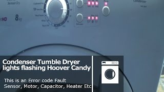 http://www.how-to-repair.com/help/hoover-candy-tumble-dryer-all-lights-flashing-error-fault-codeThis video will explain how the error codes may be displayed on your Hover or Candy tumble dryer and some Maytag, Helkama, Kelvinator, Otsein, Teka, Terzismo, Zerowatt models. We will explain what they might mean