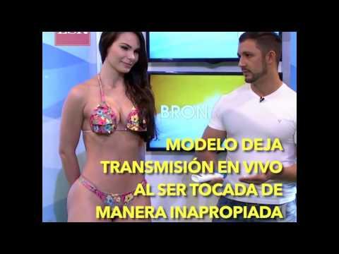 Esta modelo deja plantado al presentador al tocarla de manera indecente en TV