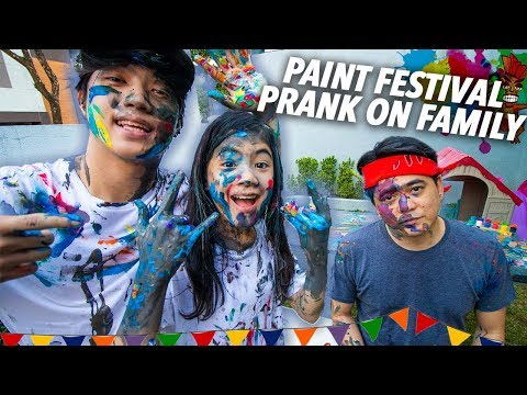 PAINT FESTIVAL PRANK ON FAMILY!! (Sinulog) | Ranz and Niana