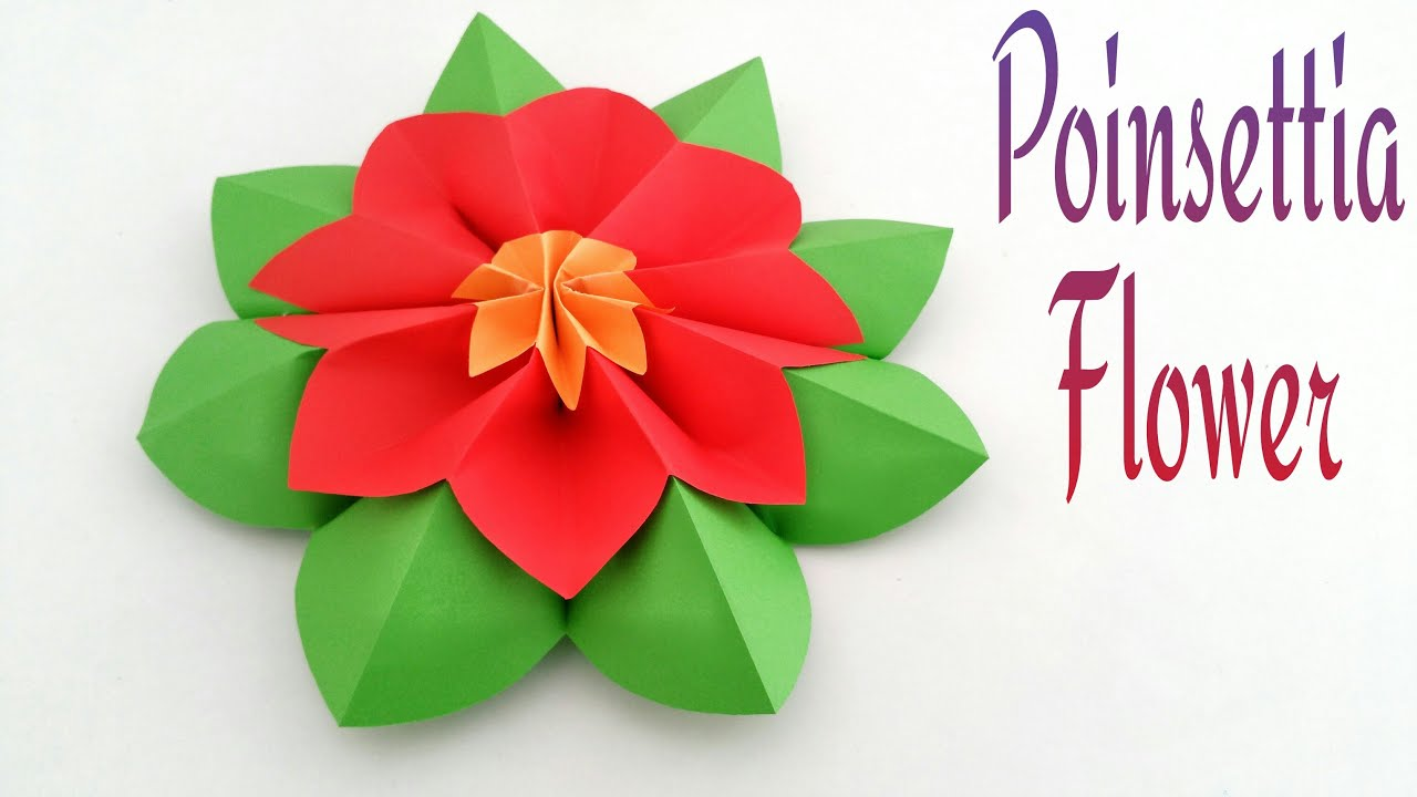 Flowers paperfolds origami arts and crafts how to make a beautiful poinsettia flower origamicraft tutorial izmirmasajfo