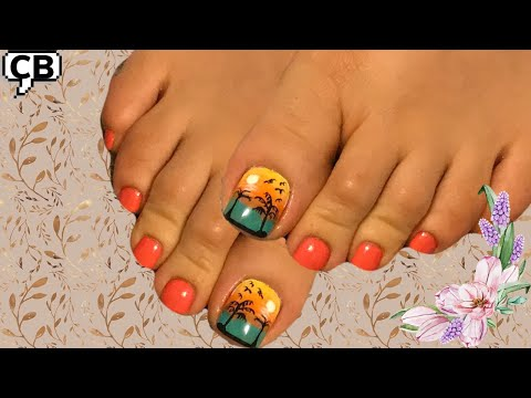 Modelos de uñas - Diseño para uñas de pies Amanecer en el Mar