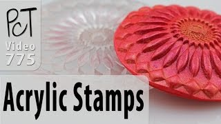 """These Mandala stamps are like no other stamps I have used before. They are highly detailed, deeply etched stiff acrylic stamps that can be used with polymer clay, metal clay, ceramics, fondant, soap making, candle making and more...Here's our Etsy affiliate link to this unique product... http://tidd.ly/9b45ae01For more info and related resources about Haskins Design Studio Laser Cut Acrylic Stamps, please visit our PcT blog (Video #775)... http://www.beadsandbeading.com/blog/?p=149Polymer Clay Tutor, Cindy Lietz & Doug Lietz""""Love What You make... Make what You make.""""PS:  I would like to apologize for the crackles in the audio track of today's video. If you look carefully, you will see that the mic was dangling at the bottom of my jacket, instead of clipped on to my collar where it should have been. The mic bouncing across my clothing is what caused all the static. Since I speak so loudly, the volume levels all appeared to be fine while we were recording, and it was not until editing that we noticed the problem. The only fix would have been to completely re-shoot, but unfortunately we did not have enough time to do that. It probably sounds worse to me than it will for you, but I just wanted to mention all this just in case anyone was wondering :)"""